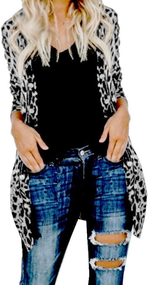 Women Lightweight Cardigan Leopard Printed Button Down Cardigans Shirt