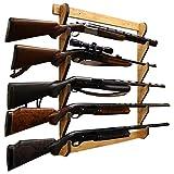 Rush Creek Creations Indoor 5 Rifle/Shotgun Wall Storage Display Rack American Cherry Finish - Convenient Easy Assembly (38-4044)