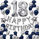HoufuJC 18°Palloncini Decorativi per Feste di Compleanno, Compleanno Felice Banner Palloncini in Lattice stagnola, Decorazioni Accessori per Foto, per Ragazze Ragazzi Donne Uomini, Blu, Argento