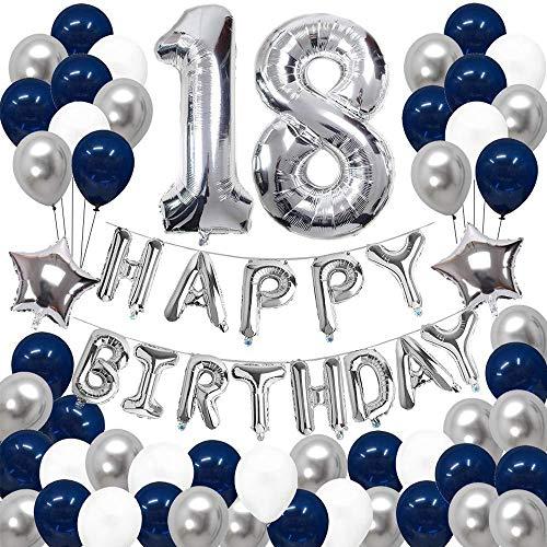 18 Geburtstag Dekorationen Blau Silber, 18. Geburtstag Party Dekorationen, Happy Birthday Banner Folie Latex Luftballons, Dekorationen Foto Requisiten, für Mädchen Jungen Frauen Männer