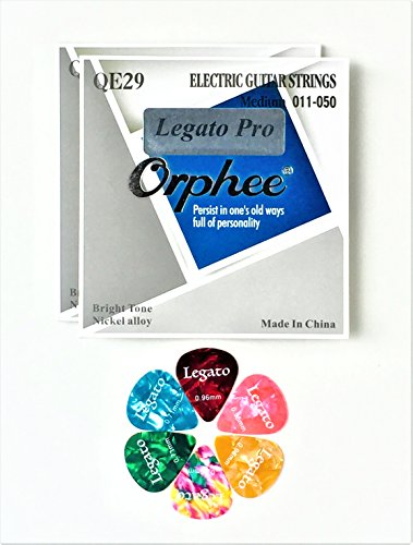 Electric Guitar Strings Professional Level Medium 11-50 (2 Sets) Nano Coated w/ 6 Guitar Picks