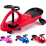 Wiggle Car Ride on Toys for 3 Year Old and Up Boys Girls with LED Light Up Wheels (Pink) (Red1)