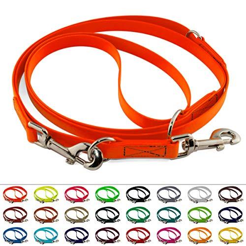 LENNIE Mehrfach verstellbare BioThane Führleine, 9mm breit, 4m lang, Neon-Orange, genäht, Doppelleine