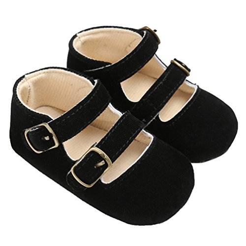 Baby Girls Double Buckle Straps Suede Mary Jane Soft Sole Princess Dress Shoes Black Size M