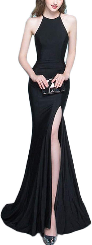 Yisha Bello Women's Long Mermaid Evening Prom Dress Halter Split Formal Party Gowns