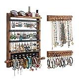 QILICZ Organizador de joyas para pared, organizador de pendientes, montaje en pared, 3 piezas, soporte para cadenas, anillos, pulseras, relojes, pendientes y accesorios
