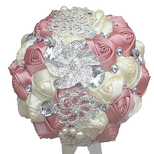 DOTKV Wedding Bouquet, Artifical Rose Posy with Satin Jeweled Throw Bouquet, Bridesmaid Holding Flowers,Wedding Bouquets Silk Flower, Wedding Memories Forever(Ivory+Pink)