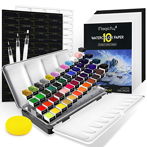 Magicfly Watercolor Paint Set, 48 Solid Watercolor Paint (Including Metallic Colors) with 3 Watercolor Brush Pens, 10 Sheets Watercolor Paper Pad, Half Pan Palette & Sponge, Professional Watercolor Set in Portable Tin Box for Adults & Kids