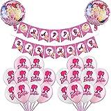 Globo de número 1set New Pink Pink Princess Foil Chica Juguete Barbi Feliz Cumpleaños Banner Decoración de Fiesta Helio Globos Niños Juguetes Dama Regalo (Color : 1set)