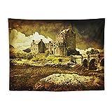 Manta Tapiz Para Colgar En Pared,Lámina medieval castillo escocés antiguo, Estera Picnic Decoración Sala Estar,60x80'