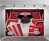 GooEoo 10x7ft 面白い犬??映画ポップコーンソーダとメガネの写真を見る背景子供の誕生日パーティーのバナー写真スタジオの小道具家族のパーティーの誕生日の背景赤ちゃんのシャワーの装飾ビニール素材