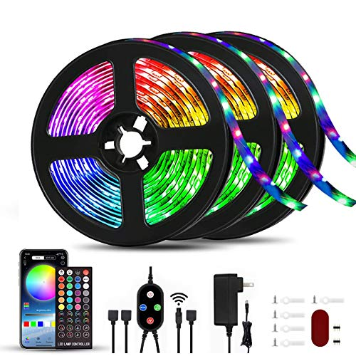 50ft Led Strip Lights Music Sync Color Changing, APP Phone Controlled with Bluetooth Remote, RGB SMD 5050 Led Lights for Bedroom Kitchen Home Party Decoration