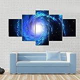BDFDF Cuadros En Lienzo Pintura 5 Paneles Galaxia Espiral Azul Poster Arte De La Pared Imagen Impresión Pintura Decoración Cuadro Moderno En Lienzo 5 Piezas XXL Murales Pared Hogar Decor 150X80Cm