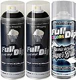 AutoFullCar - Pack 3 Spray Full Dip Negro Brillo FULLDIP 2 Spray Negro + 1 Spray Barniz Brillo DE Acabado Resistente