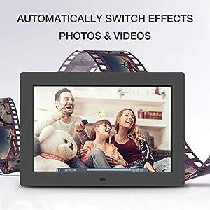 Jeemak Digitaler Bilderrahmen 10.1 Zoll Hochauflösend IPS Display Auto-Slideshow Elektronischer Fotorahmen für Foto/Musik/Video/Kalender/Wecker, Fernbedienung, unterstützt USB-und SD-Karte (64GB)