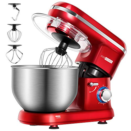 VIVOHOME Stand Mixer, 650W 6 Speed 6 Quart Tilt-Head Kitchen Electric Food Mixer with Beater, Dough Hook and Wire Whip, Red