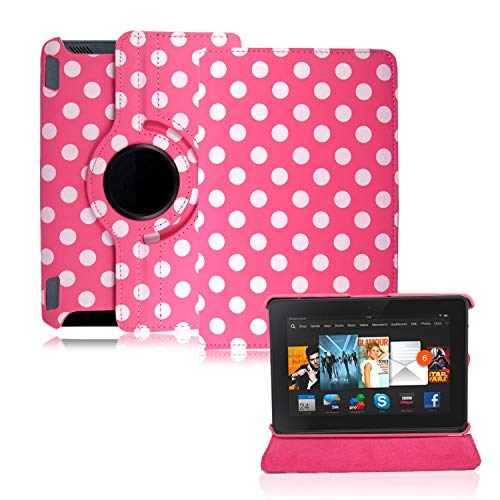 Amazon Fire HD 7 (2012 Version) Case, Leather Flip Folio Case Cover with Stand Case (Polka Dot Pink - 360 Case)