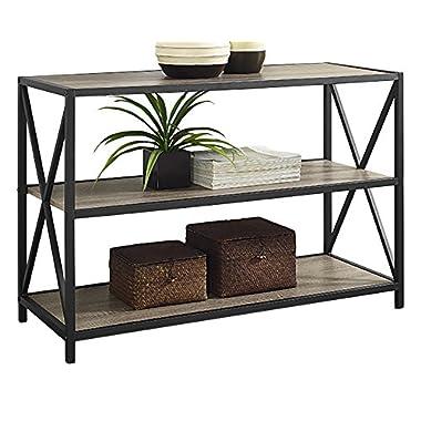 WE Furniture 40  x-Frame Metal & Wood Media Bookshelf - Driftwood, 40 ,