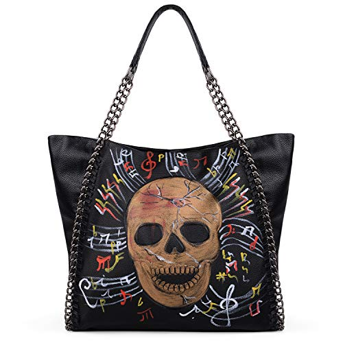 UTO Tote Bag for Women Skull Painting Laptop Handbag PU Leather Top Handle Shoulder Bag Purse Gold Color
