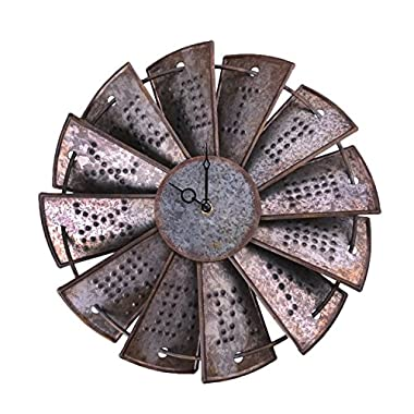 NALAKUVARA Rustic Metal Windmill Wall Clock, Silent Non Ticking Wall Clocks Large Decorative - Vintage Antique Conuntry Farm Home Farmhouse Decor - Quality Quartz Battery Operated - 14.5 Inch