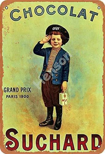 Vvision Suchard Chocolat Grand Prix Paris 1900 Signe d'étain Affiche en métal Panneau d'avertissement rétro Plaque de Fer Plaque Affiche Vintage Chambre Mur de la Maison en Aluminium Art décoration