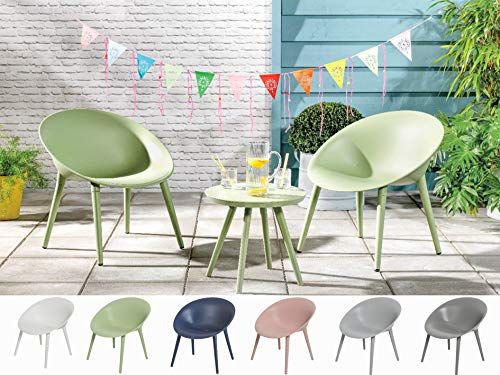 Dawsons Living Moon Bistro Set - Outdoor Plastic Garden Patio and Decking Set - 2 Chairs and Table (Green)
