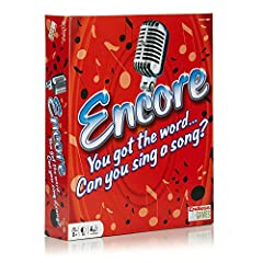 "SING AND PLAY: Can you sing a song with ""love"" in the lyrics? How about ""heart""? Encore is the game that's all about singing songs you know that contain the word you're given. Belt out favorite tunes! CONTENTS: This funny music game includes 48 Doubl..."