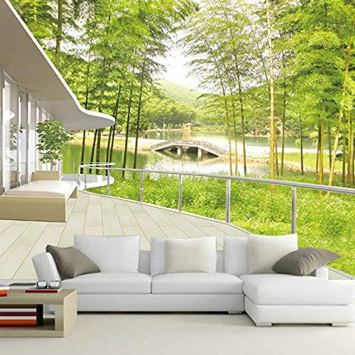 BHXIAOBAOZI behang fotobehang op maat gemaakt fotobehang 3D bamboe bos landschap grote muurschildering voor woonkamer TV sofa background Home interieurdecoratie wand papier (Bh0198) 330cm(W)×210cm(H)