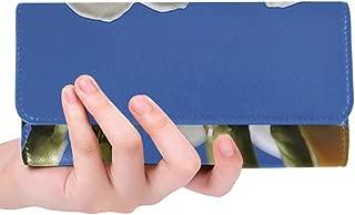 Unique Custom Blossom White Blossom Flowers Bloom Spring Women Trifold Wallet Long Purse Credit Card Holder Case Handbag