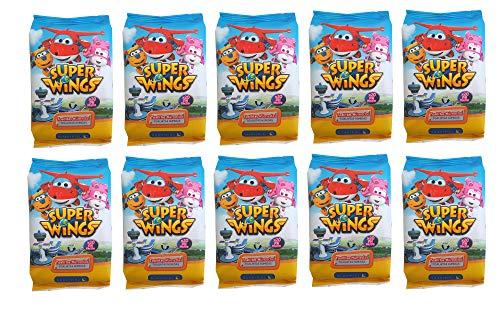 Toallitas húmedas infantiles Super Wings Caja con 10 packs de 20 toallitas cada uno. Cómodo tamaño pocket para llevar en bolsillo, viajes, mochila o bolso