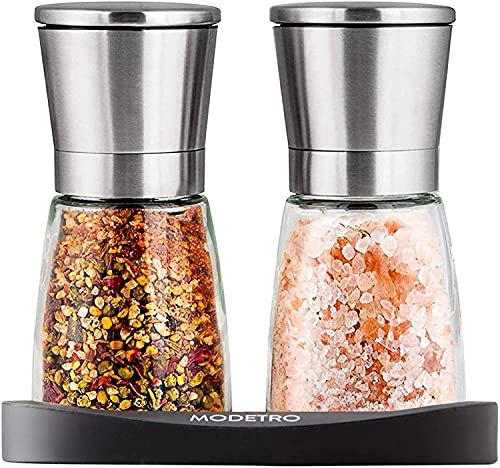 Salt and Pepper Shakers with Silicon Stand (2 pcs) - Premium Salt and Pepper Grinder Set with Adjustable Ceramic Coarseness...