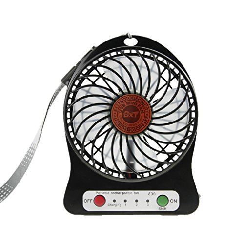 Mini Ventilateur 3 Vitesses Modèle Ventilo USB Rechargeable Super Portable Ventilator de Bureau Table Léger Ventilatore Puissant et Silencieux Refroidissement Mini Fan PC Cooling avec Éclairage LED