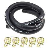 Laixin 3/8' Pulgadas Ø 10 mm línea de gas combustible 1 Metro con 5 Piezas Abrazaderas de Manguera para Barco Marino Fueraborda Gas Diesel Gasolina