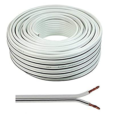 2 x 0.50mm Speaker Cable Wire4U® Figure 8, Quality, 50 Strands Wire In 10 20 50 100 Metres (50 metres, White)