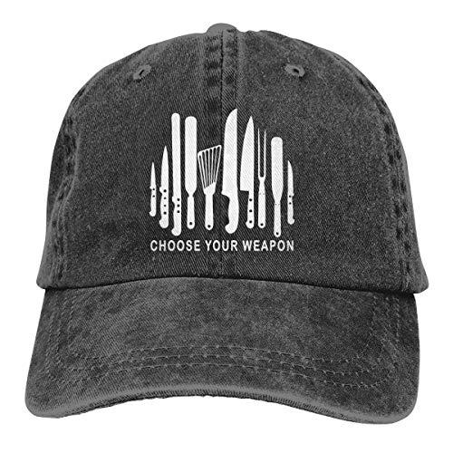 Unisex Skull-Chef Cooking Skull Vintage Jeans Adjustable Baseball Cap Cotton Denim Dad Hat (One Size, Black 3)