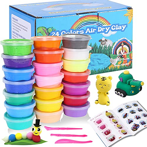 iFergoo Air Dry Clay Set- 24 Colors Magic Clay Ultra Light Clay Safe and Nontoxic DIY Creative Moldling Clay, Art Crafts Kits for Kids.