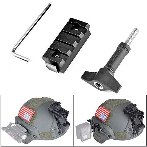 Fantaseal Hochpräzise Aluminiumlegierung Taktischer Helm Picatinny Rail Mount Adapter Kompatibel für ACH Mich PJ Fast Airsoft Paintball Helm Seitenschiene für Plug Gear