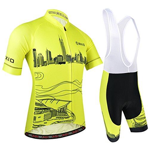 BXIO Abbigliamento Sportivo per Bicicletta, Maglia Ciclismo Maniche Corte con Pantaloncini Abbigliamento per MTB Ciclista, Modello di Città, Giallo, L