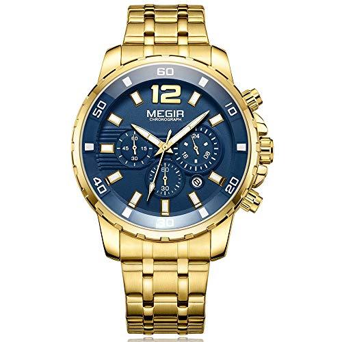 Relojes para Hombre Dorado, Reloj Azul Grandes Esfera, Relojes Militar Acero Inoxidable Oro con Calendario Reloj de Pulsera de Cuarzo para Hombres, Resistente al Agua
