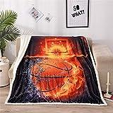 A Nice Night Basketball Print Sherpa Fleece Blanket Twin Size Plush Throw Blanket Fuzzy Soft Blanket Microfiber (Basketball, Twin(60x80 Inch))