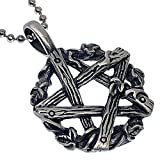 Halloween Witch's Magic Twigs Bundle Pentagram Pentacle Star Wicca Pagan Wiccan Witch Warlock Protection Amulet Pewter Men's Women's Pendant Necklace Charm for men women w Silver Ball Chain