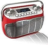 Radio Vintage FM con Despertador, Pantalla LCD, Transistor Radio Retro de Sobremesa (Rojo)