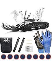 TOLIANCLE Fiets-multitool, 16-in-1 gereedschap voor fietsreparatieset, multifunctioneel gereedschap, reparatie, fietsgereedschap, gereedschapsset fiets met tas, zelfklevende fietspatches enz