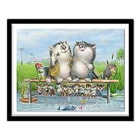 子供のための番号キットによる5Dダイヤモンド絵画 刺繡クロスステッチ、家の壁の装飾のためのクラフトギフトが含まれています 漫画の猫釣り(30x40)CM