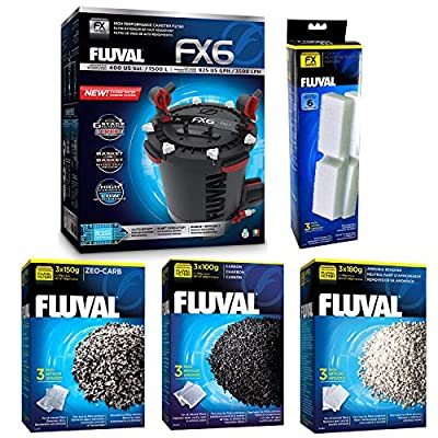 Fluval FX6 A219 Filter w/Foam, Carbon, Ammonia Remover & Zeo-Carb 3mo