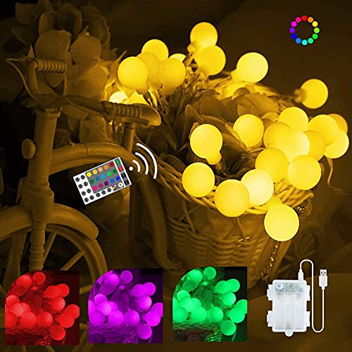 Battery Operated String Lights, 40 LED 16 Colors Globe String Lights USB Powered with Remote, Waterproof Indoor Outdoor Hanging Lights for Bedroom Camping Party Patio Holiday Decor