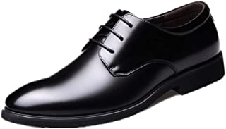 Business Oxford for Men Formal Shoes Lace Up Round Toe Genuine Leather Breathable Casual (Color : Black, Size : 38 EU)