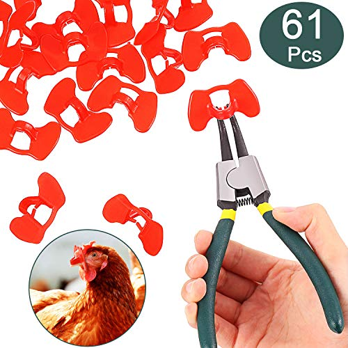 61 Stück Pinless Peepers mit Zange Huhn Peepers Fasan Geflügel Blinders Brille Anti Picken Brillen Zangen Werkzeug für Haustier Mitte