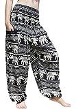 Full Funk Smocked Waist Women's Yoga Palazzo Summer Hippie Boho Harem Pants Asian Art, X-Large, Elephants Table Pattern - Black
