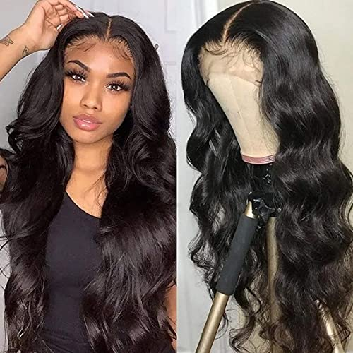 Beauty Forever Hand Tied T-Part Lace Front Body Wave Wig Brazilian Virgin Human Hair Wig Pre-plucked Lace Part Wig 150% Density Natural Color Middle Part (16inch, Body Wave Natural Color) …